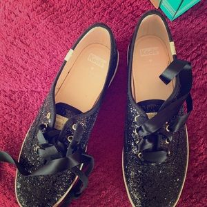 Kate Spade and KEDS black glitter sneakers